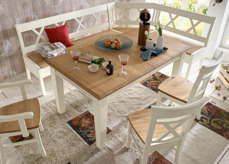 Nordic Home Esstisch mit Funktion aus Massivholz champagner