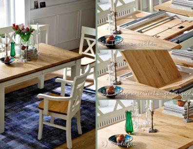Nordic-Home-Landhaus-massiv-RAL9010-Wildeiche-speisen-funktionstisch-ausgezogen-stuhl-sitzbank-txt-g