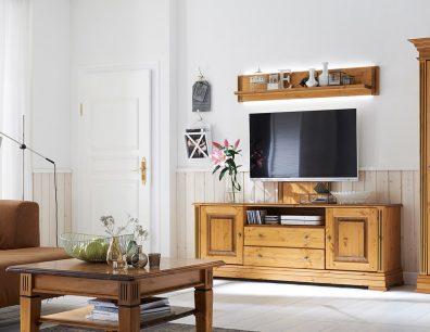 Stockholm Wohnwand TV-Bank TV-Lowboard Vitrine Wandbord Wandregal