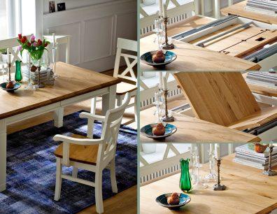 Nordic-Home-Landhaus-massiv-RAL9010-speisen-funktionstisch-ausgezogen-stuhl-sitzbank